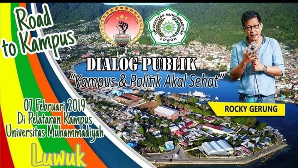 Foto Pamplet kegiatan roadshow to kampus Universitas Muhammadiyah Luwuk, oleh Rocky Gerung banyak dibagikan di media sosial.
