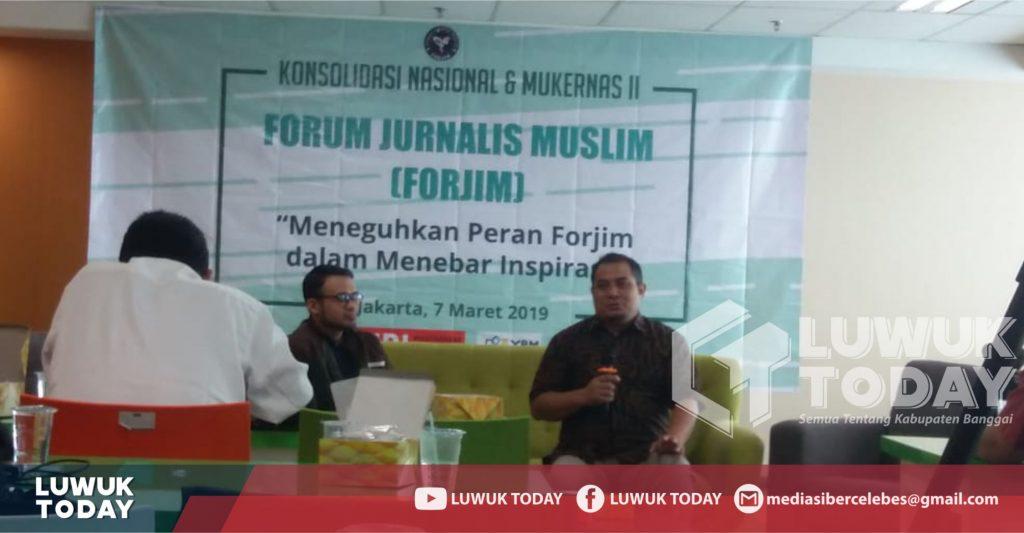 """Foto  Konsolidasi Nasional dan Mukernas ke 2 Forjim """"Meneguhkan peran Forum Jurnalis Muslm dalam menebar inspirasi"""", Kamis (7/3/2019), Gedung Menara 165 Jakarta."""