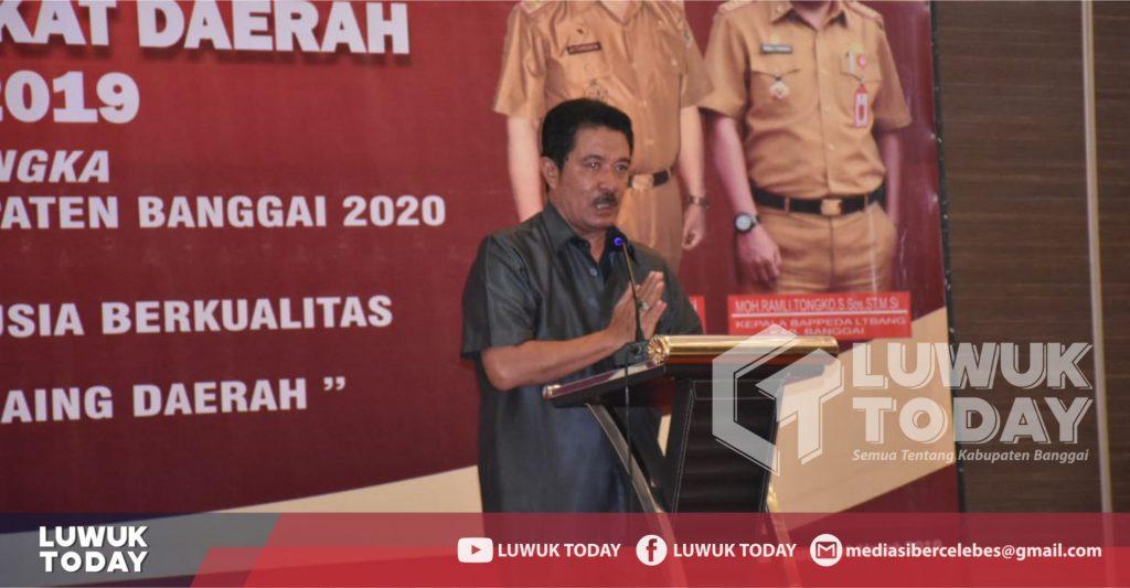 Foto Ketua DPRD Banggai, Samsul Bahri Mang S.E., M.M., dalam sambutanya pada acara yang digelar FORKOPIMDA, di Hotel Estrella Luwuk, Senin (4/3/2019).