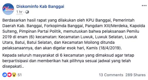 Photo of Pemilu Ditunda 18 April 2019 Di 6 Kecamatan Kab. Banggai, Netizen : Libur?