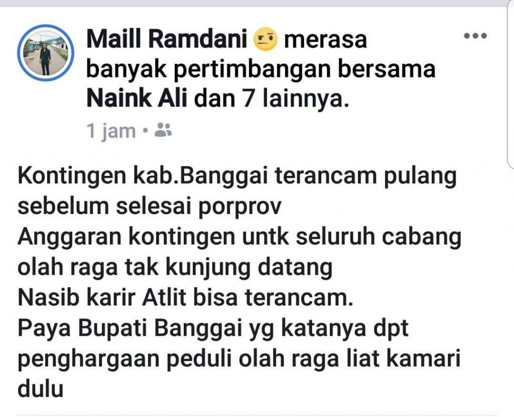 Foto Mail Ramdan salah satu netizen yang mengungkapkan kekhawatirannya tentang nasib atlet dari Kabupaten Banggai yang mengikuti Porprov Sulteng ke-8, terkait dana yang tidak jelas. Foto : FB