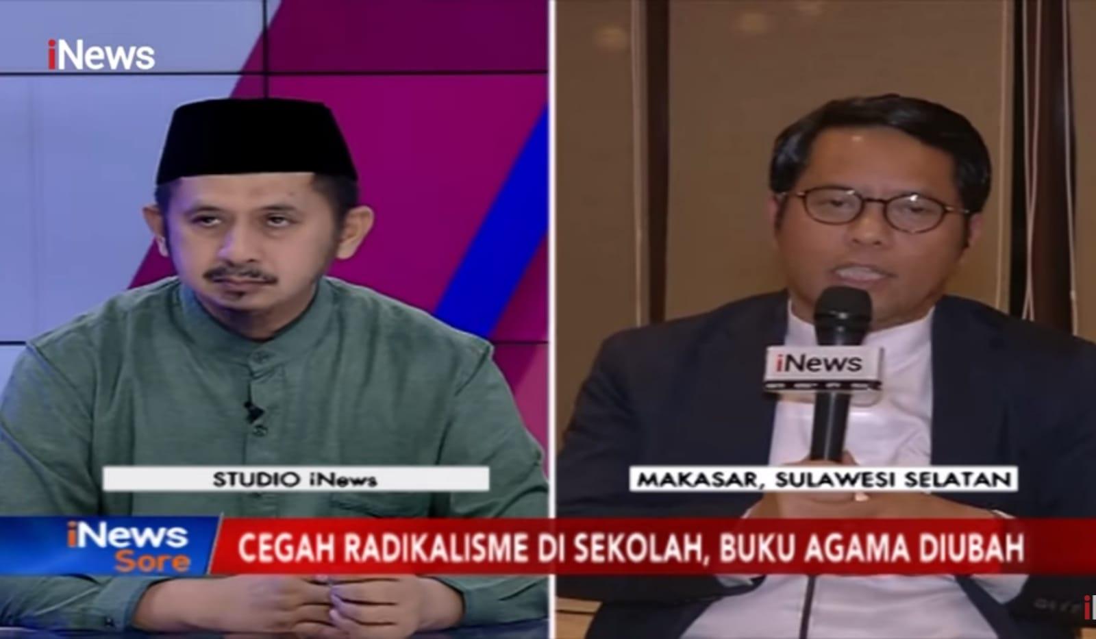 Foto Prof Kamaruddin Amin (kanan) dan KH. Muhammad Zaitun Rasmin (kiri) pada dialog Tangkal Radikalisme. INews sore, Jum'at (15/11/2019)