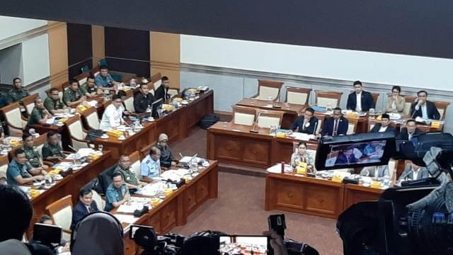 Foto Rapat Kerja Komisi I DPR-RI bersama Menhan Prabowo Subianto, Senin (11/11/2019).